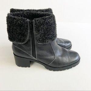 Aerosoles Boldness Faux Fur Black Ankle Boots Sz 9